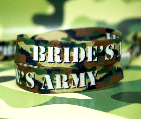 brides army military camouflage team bride hen party wristbands favours