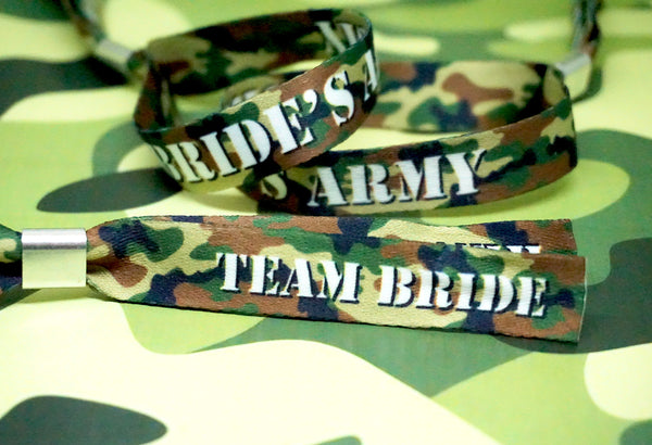 brides army camouflage team bride military hen part wristbands bracelets favours