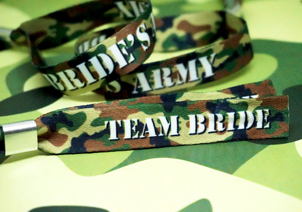 brides army camouflage theme hen party wristband favours