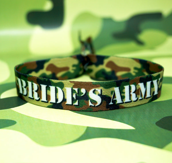army theme camouflage hens party night wristbands-favours