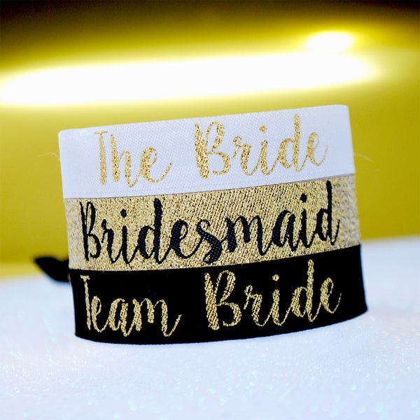 Bridesmaid (Gold) Bride Tribe / Team Bride Hen Party Wristbands