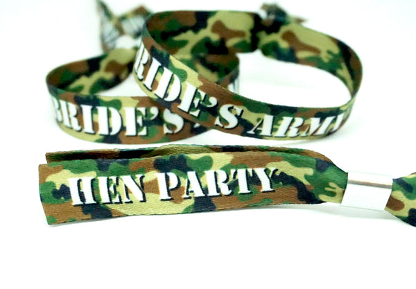 brides army camouflage hen party wristbands