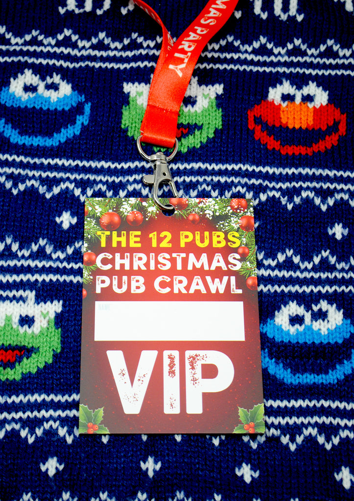 THE 12 PUBS Christmas Party Pub Crawl Lanyard Guides