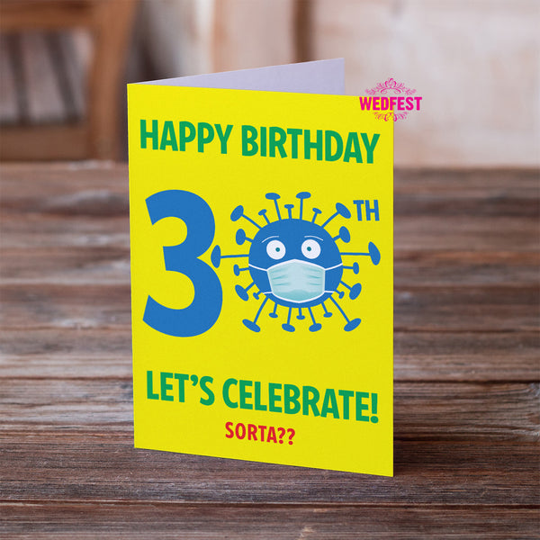 corona virus covid 19 30th birthday card male