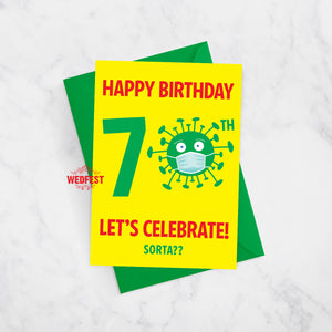 coronavirus covid 70th birthday card