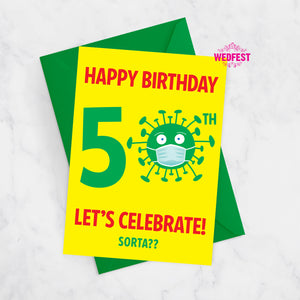 coronavirus covid 50th birthday card