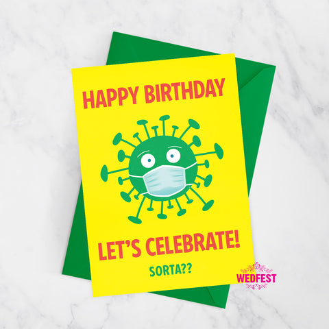 coronavirus covid theme birthday card