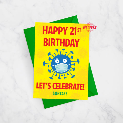 coronavirus covid male BOY 21st birthday cards