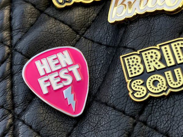 HENFEST Plectrum Hen Party Enamel Pin Badges