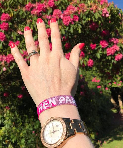 Hen Party Festival Style Wristbands in Rose Gold, Pink & Purple