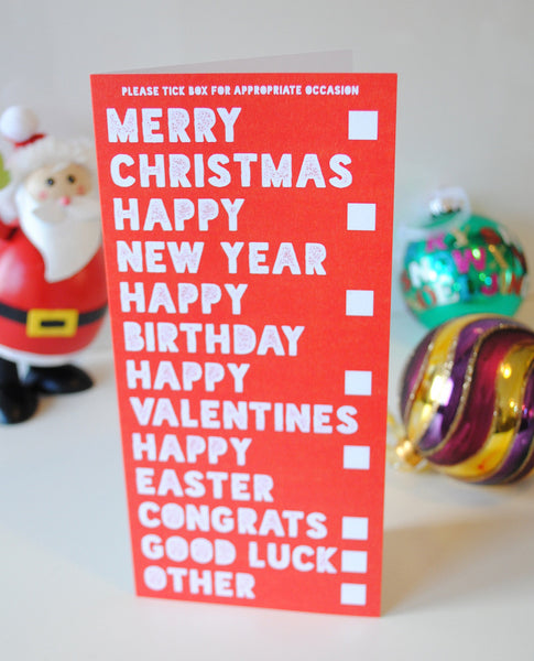 funny multi occasions christmas card, tesco poundland christmas cards