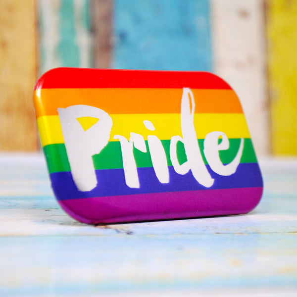 Gay Pride Metallic Rainbow Flag Badge ~ Gay Pride Accessories