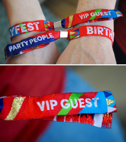 festival themed birthday party wristbands