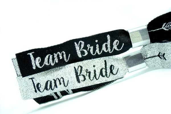 Team Bride Silver & Black Hen Party Wristbands Favours