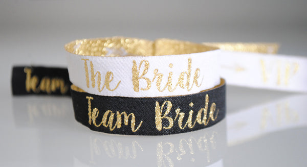 Team Bride Black & Gold Hen Party Wristbands