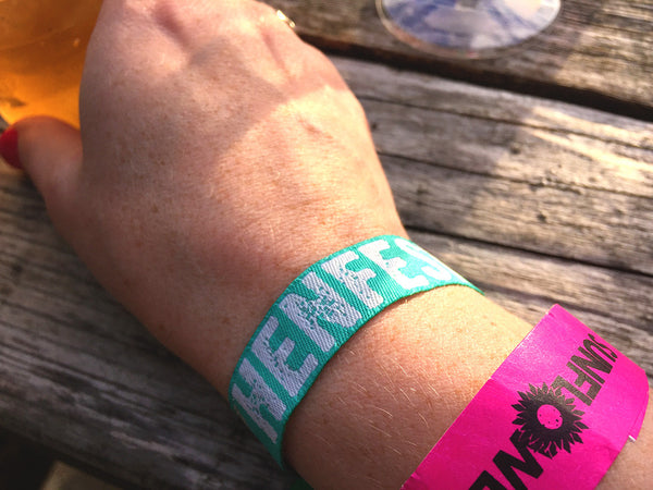 hen festival teal green festival hen do party wristbands