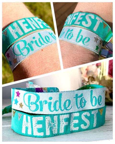 henfest bride to be festival hen party wristbands