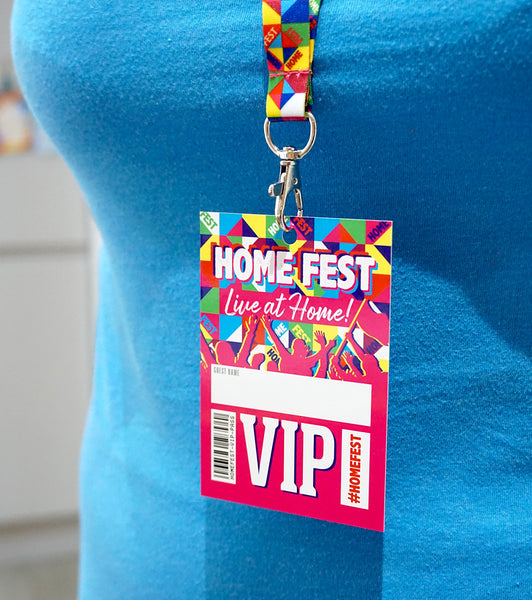 home fest festival party vip lanyard favours