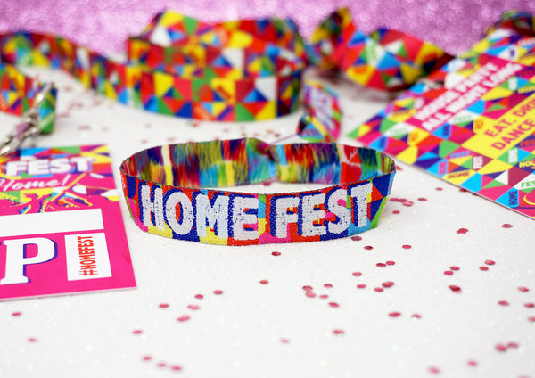 HOME FEST Festival Themed Party Wristbands - GLASTHOMEBURY