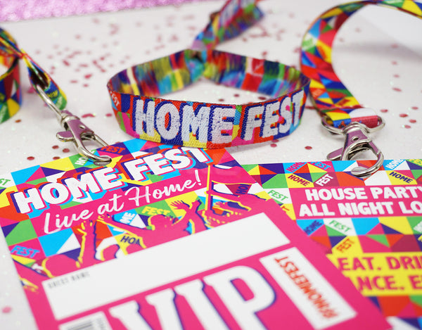 homefest festival at home wristbands lanyards