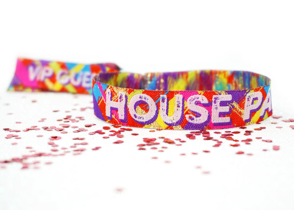 house party festival theme birthday wristbands