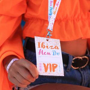 ibiza hen do party vip pass lanyards favour