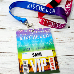 kidchella kids birthday party vip pass festival lanyard invitation