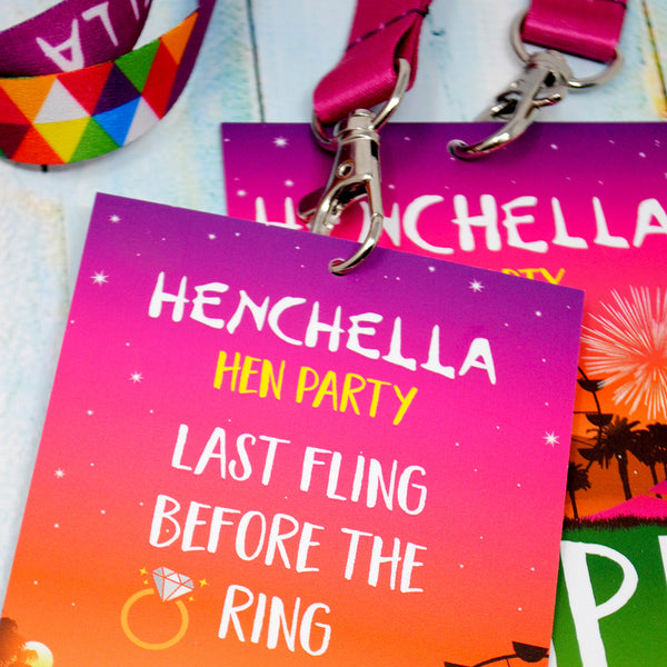 HENCHELLA Festival Hen Party VIP Pass Lanyards