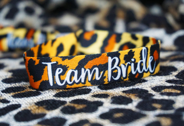 team bride leopard print hen do party wristband accessories