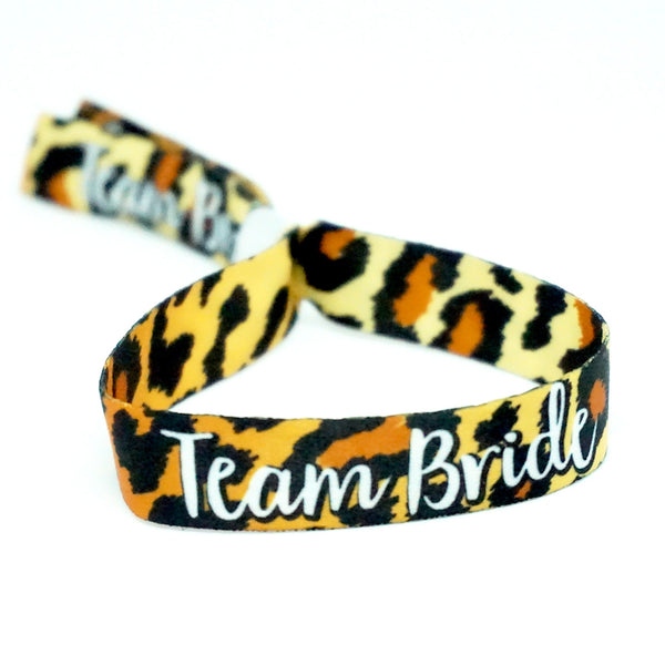 leopard print hen party wristbands favours team bride