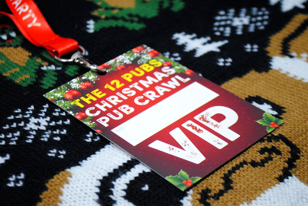 THE 12 PUBS Christmas Party Pub Crawl List Lanyard Guides