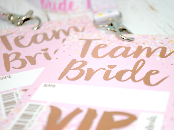 rose gold foil hen party vip pass lanyard