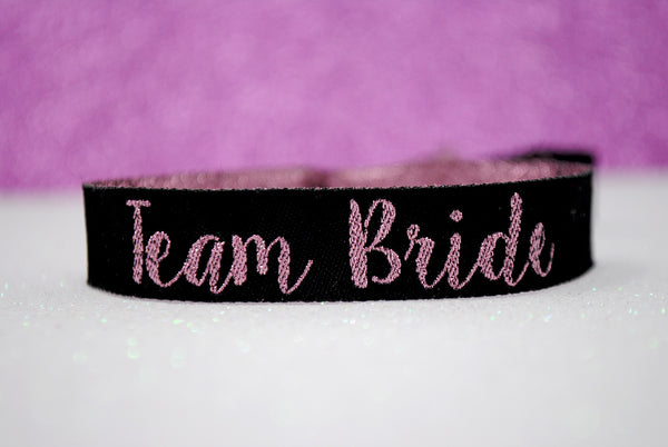 TEAM BRIDE 'Rose Gold & Black' Hen Party Wristbands