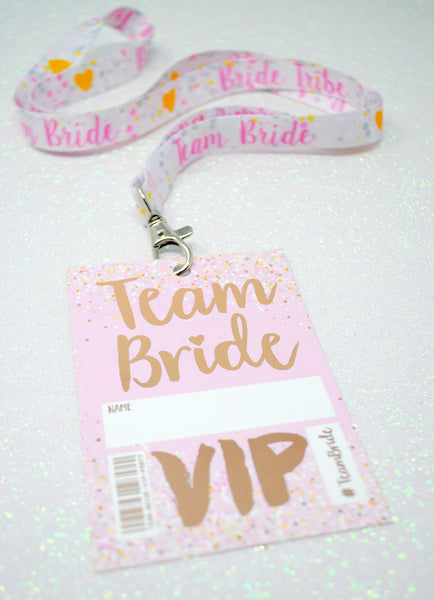 rose gold team bride hen bachelorette party lanyard favours