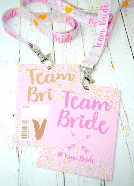 rose gold team bride hen party bachelorette lanyard