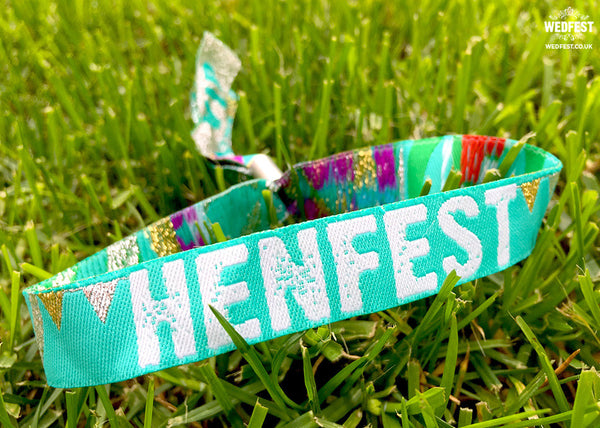 henfest teal green festival hen do party wristbands