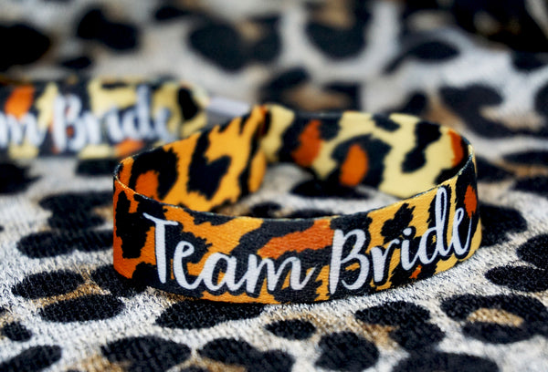 team bride leopard print hen do party wristbands accessories
