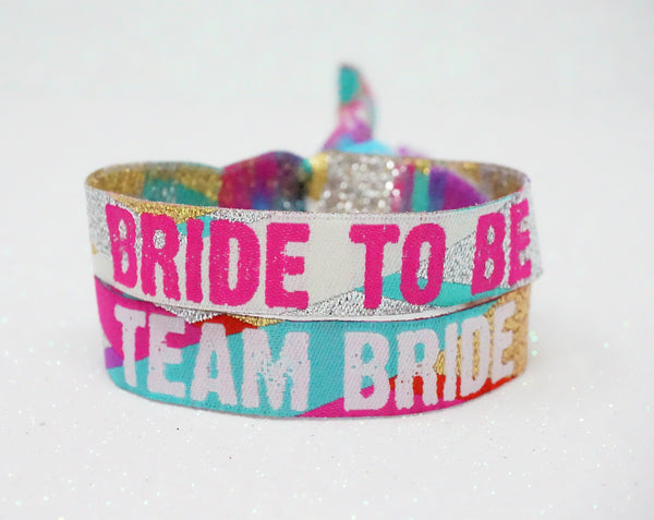 team bride multi coloured bride to be festival hen party wristbands