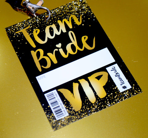 Team Bride VIP Pass Hen~Bachelorette Party Lanyard Favours
