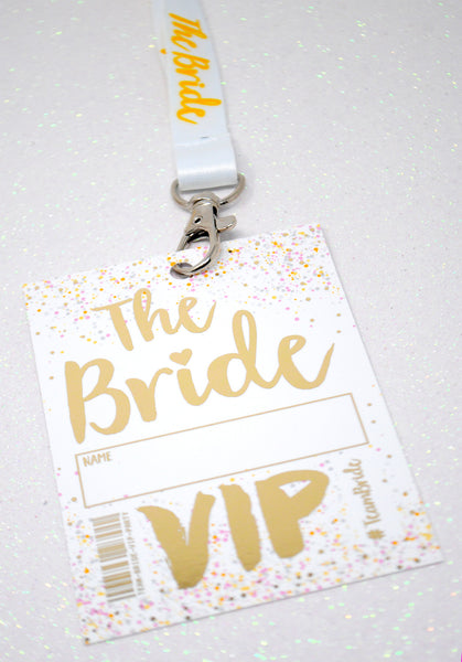 the bride to be hen do party vip pass lanyard