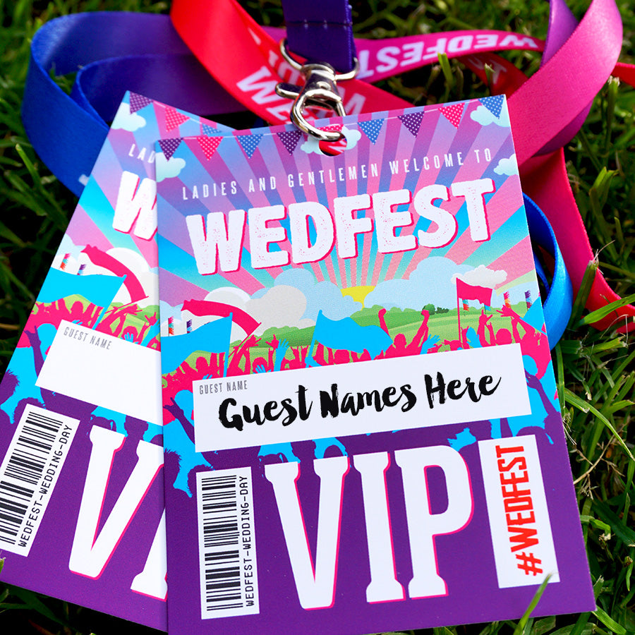 WEDFEST Festival Wedding VIP Lanyards Place Name Cards