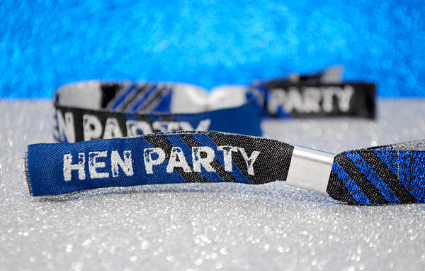 Hen Party Wristbands in Black, Blue & Silver