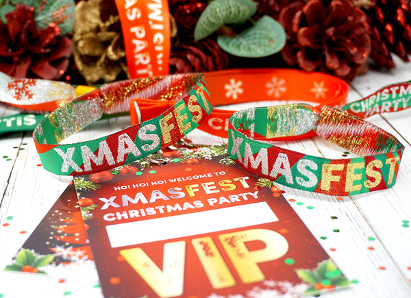 xmasfest festival theme christmas party at home lockdown office lanyards wristbands