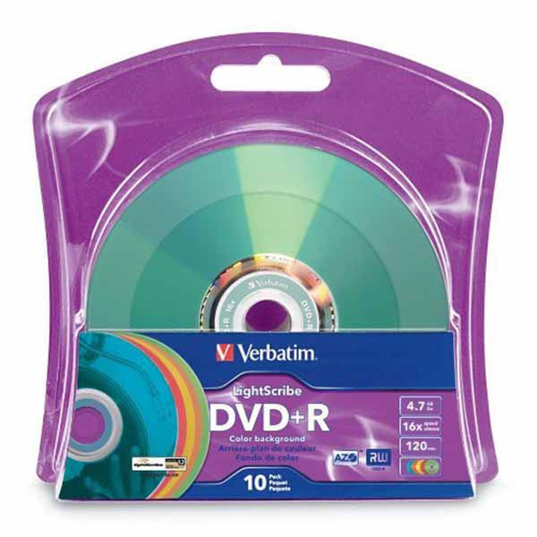Verbatim LightScribe DVD+R Blank Disc Printable Media Color Background (96941)- 10pk