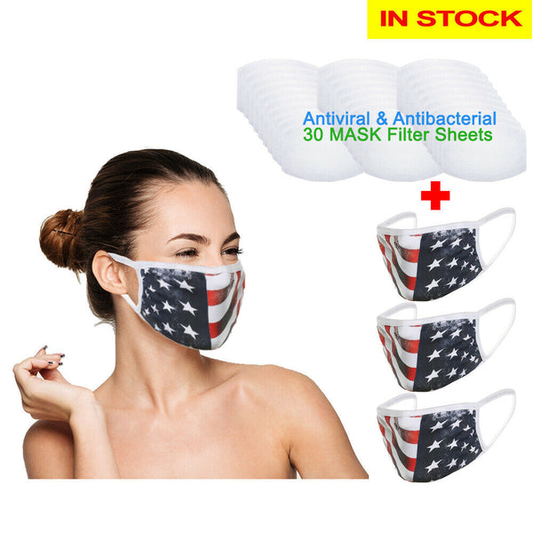 Amba7 Reusable Breathable Cloth Face Mask - Machine Washable, Non-Surgical Double Layer Anti-Dust Protection, Unisex - For Home, Office, Travel, Camping or Cycling (USA Flag Design 3-Pack With Filters (30 PCS)) In Stock