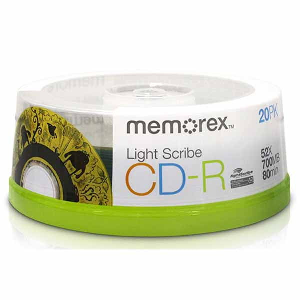 Memorex LightScribe CD-R Blank Disc Printable Media (04732) - 20pk - Duplicator Depot