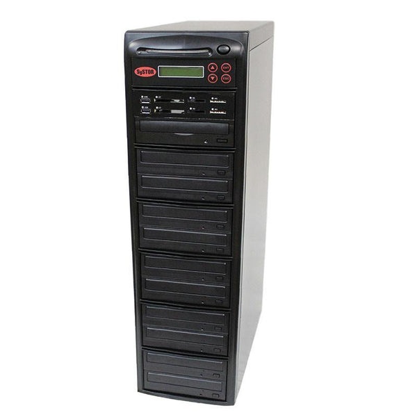 Systor MultiMedia Center PLUS - Flash Memory Drive (USB/SD/CF/MS/MMC) to Disc Backup + 1 to 10 SATA CD/DVD Duplicator - PMBC-P-10 - Duplicator Depot
