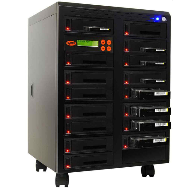 "Systor 1 to 15 SATA 600MB/S HDD SSD Duplicator/Sanitizer - 3.5"" & 2.5"" Hard Disk Drive / Solid State Drive Dual Port Hot Swap (SYS615DP)"