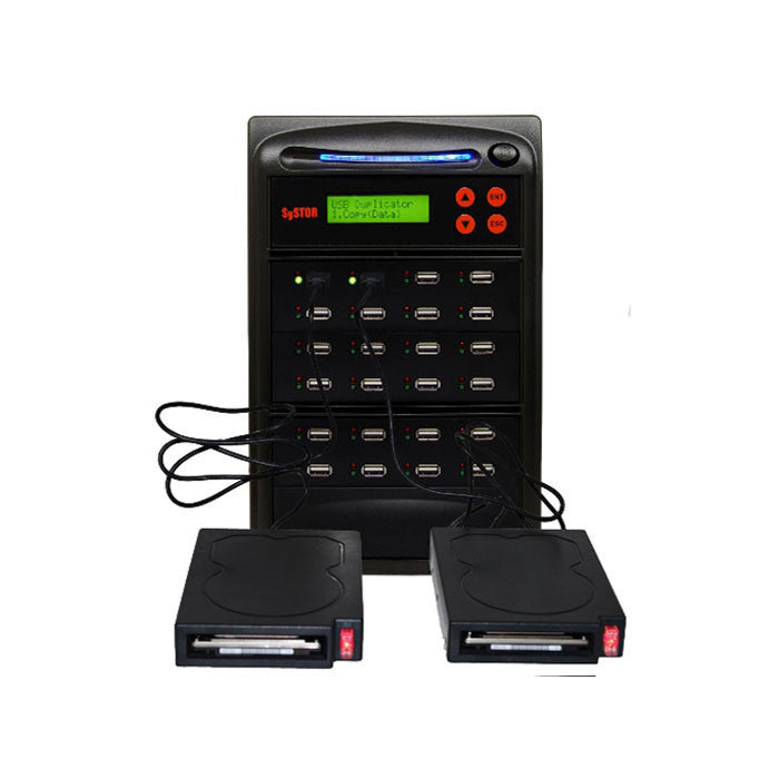 Systor 1 to 23 HDD/SSD Duplicator for Portable USB-Powered External Hard Drives & USB Flash Drives - SYS23EXH - Duplicator Depot