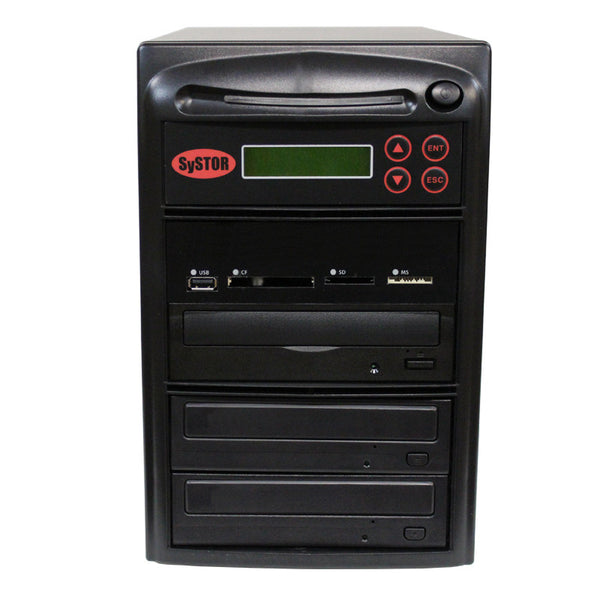 Systor MultiMedia Center - Flash Memory Drive (USB/SD/CF/MS/MMC) to Disc Backup + 1 to 2 SATA CD/DVD Duplicator - Duplicator Depot